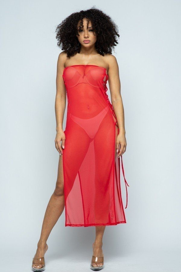 Solid mesh side lace up cover up dress-id.cc51488