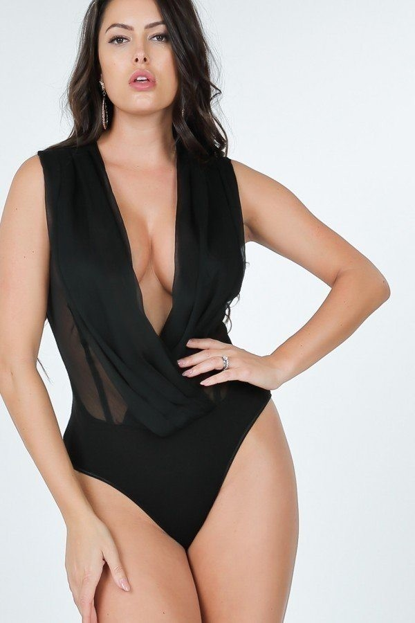 Pleated overlap front bodysuit-id.cc51491a