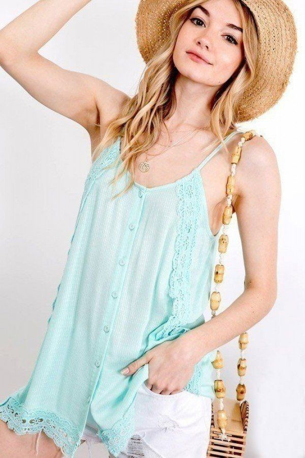 Boho scallop lace trim detailed button down solid subtle textured slit side overlay layered cami top-id.cc51517b
