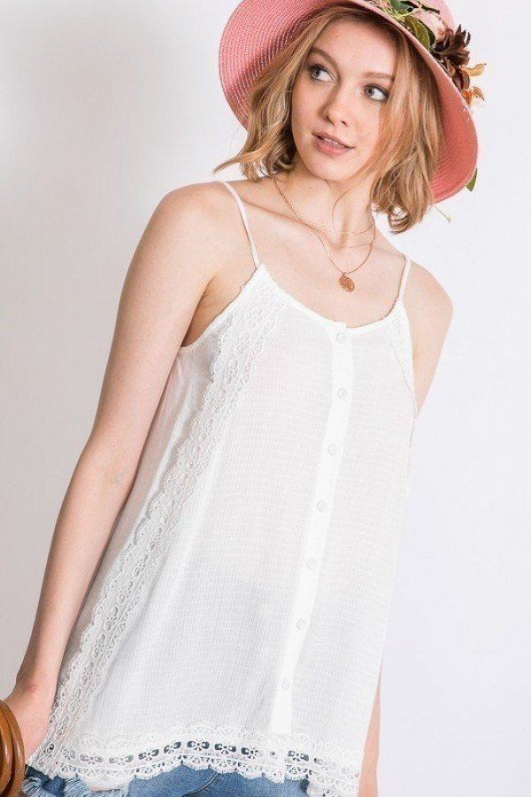 Boho scallop lace trim detailed button down solid subtle textured slit side overlay layered cami top-id.cc51517c