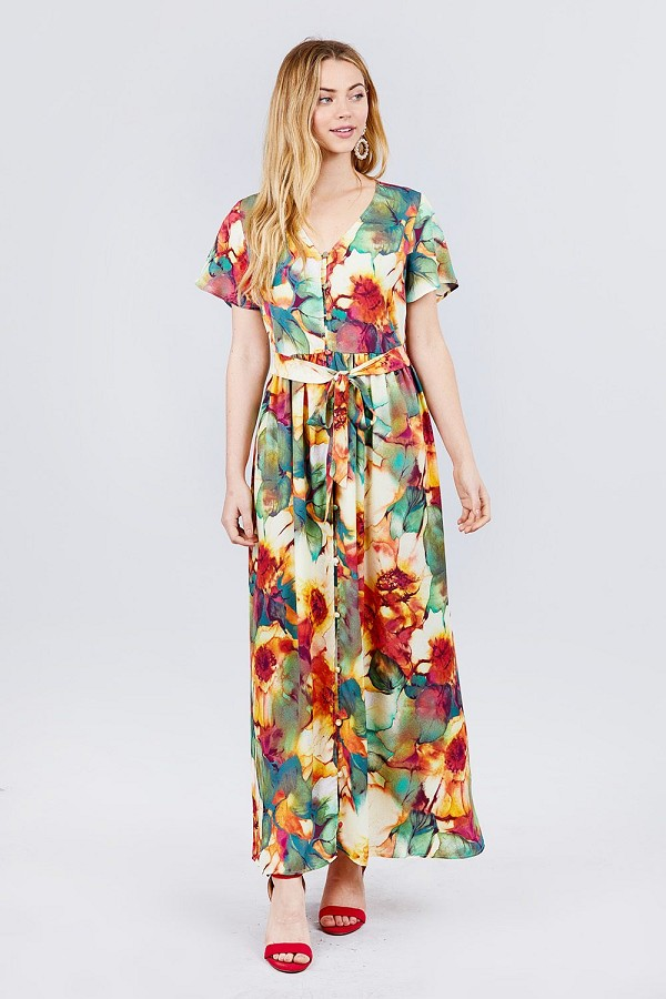 Short sleeve v-neck button down belted print woven maxi dress.-id.cc51544a