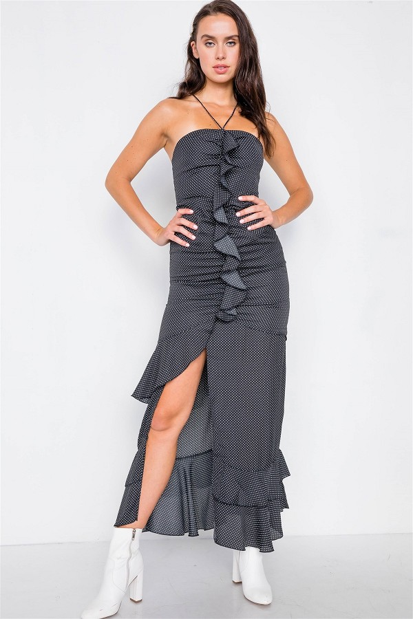 Black halter top polkadot maxi dress-id.cc51586