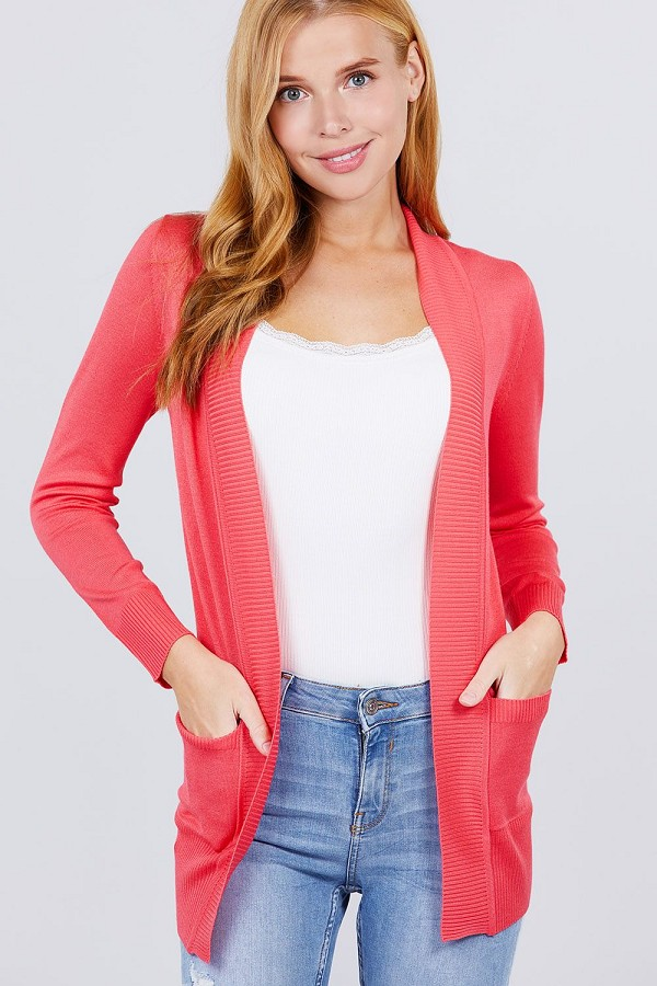 Long sleeve rib banded open sweater cardigan w/pockets-id.cc51590b
