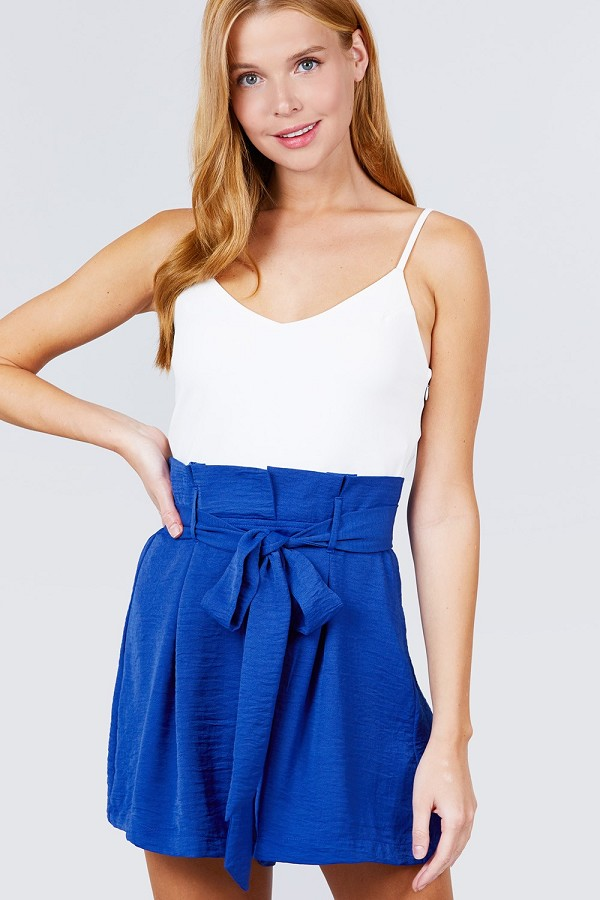 V-neck w/belted tie high waist cami woven romper-id.cc51592b