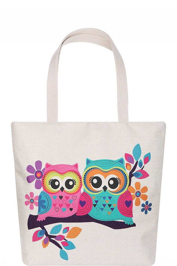 Cute owl couple cartoon print ecco tote bag-id.cc51622
