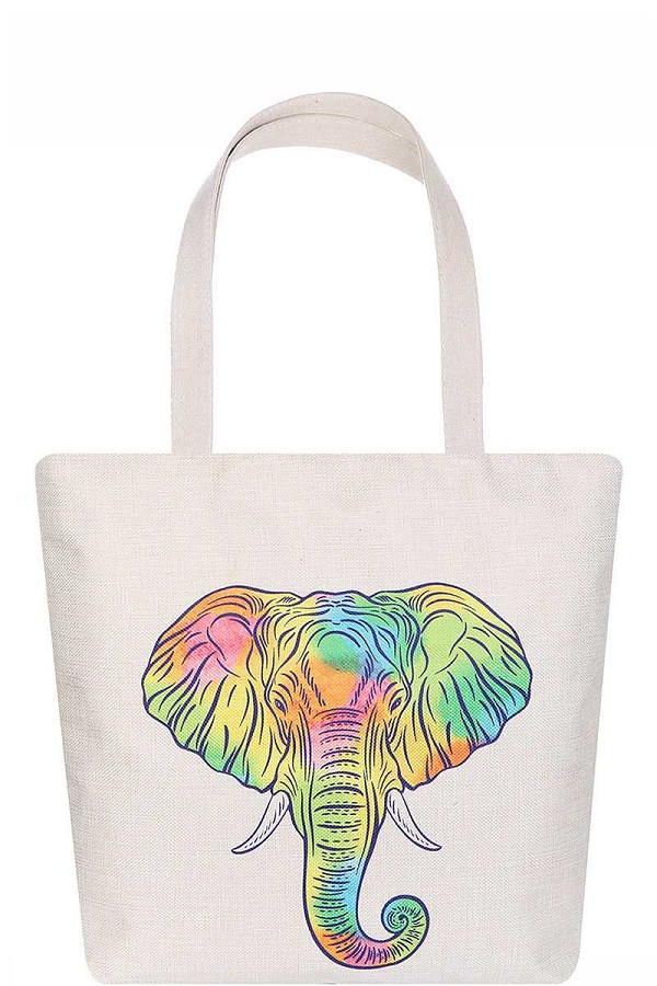 Stylish rainbow elephant print ecco tote bag-id.cc51629