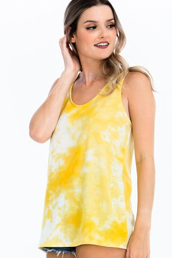 Tie-dye knit top featured in a scoop neckline and sleeveless-id.cc51659a