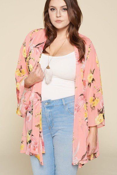 Plus size floral printed oversize flowy and airy kimono with dramatic bell sleeves-id.cc51664b