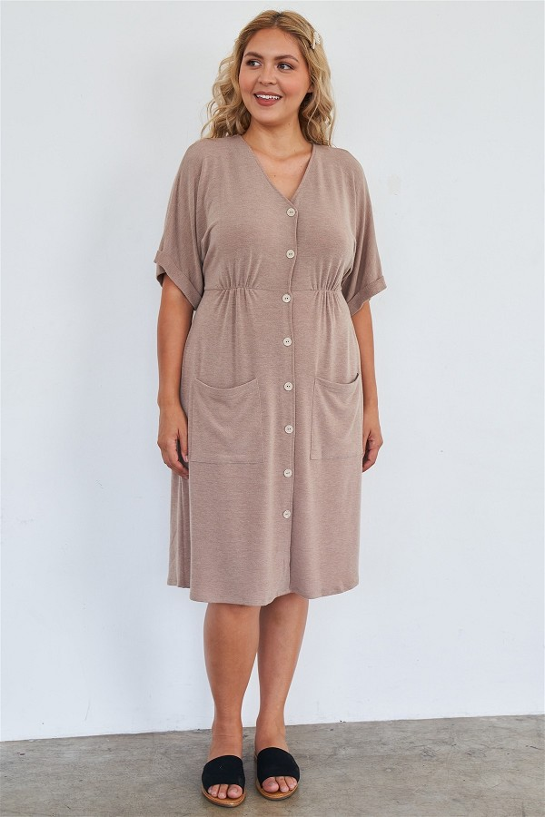 Comfy mocha fleece short sleeve knee length button up dress-id.cc51684