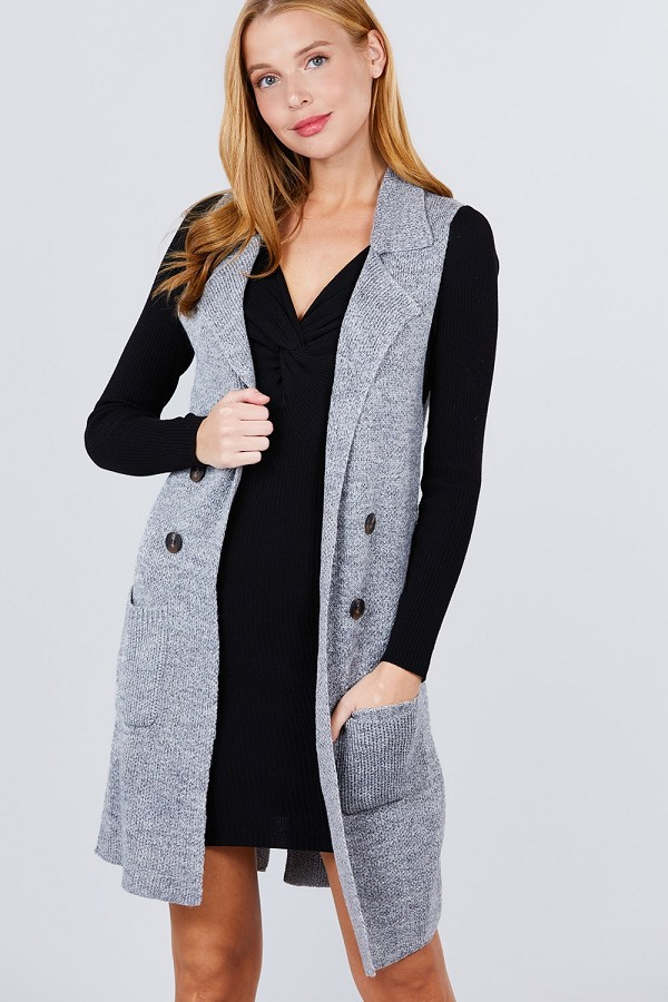 Sleeveless notched collar with side pocket long sweater vest-id.cc51695b