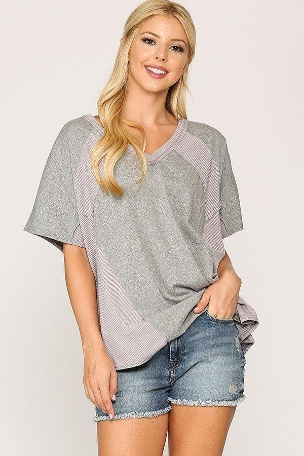 Rib knit mixed dolman sleeve top with round hem-id.cc51738a
