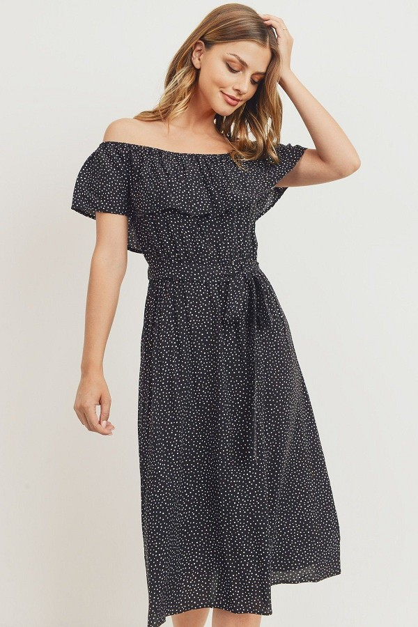 Off the shoulder waist belt with printed midi dress-id.cc51743