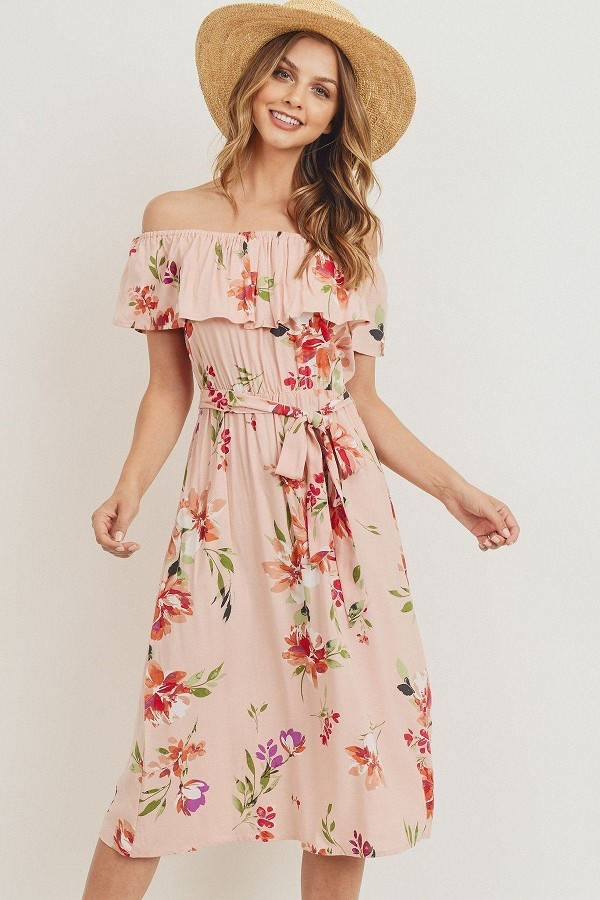 Off the shoulder waist belt with printed midi dress-id.cc51743c