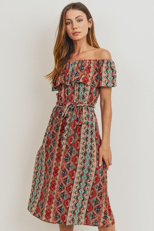 Off the shoulder waist belt with printed midi dress-id.cc51743d