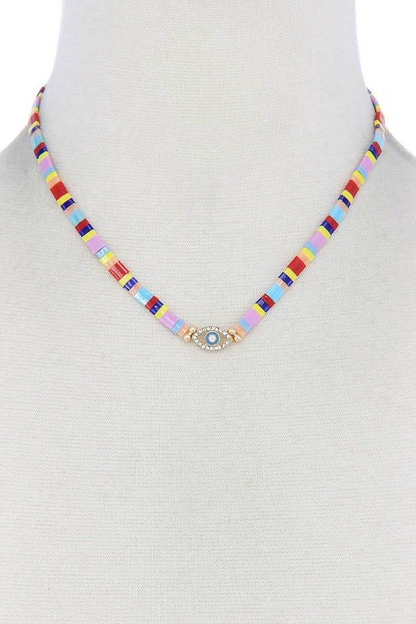 Evil eye charm color block necklace-id.cc51777