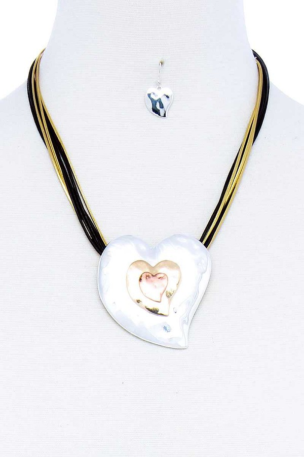 Fashion triple heart pendant necklace and earring set-id.cc51784