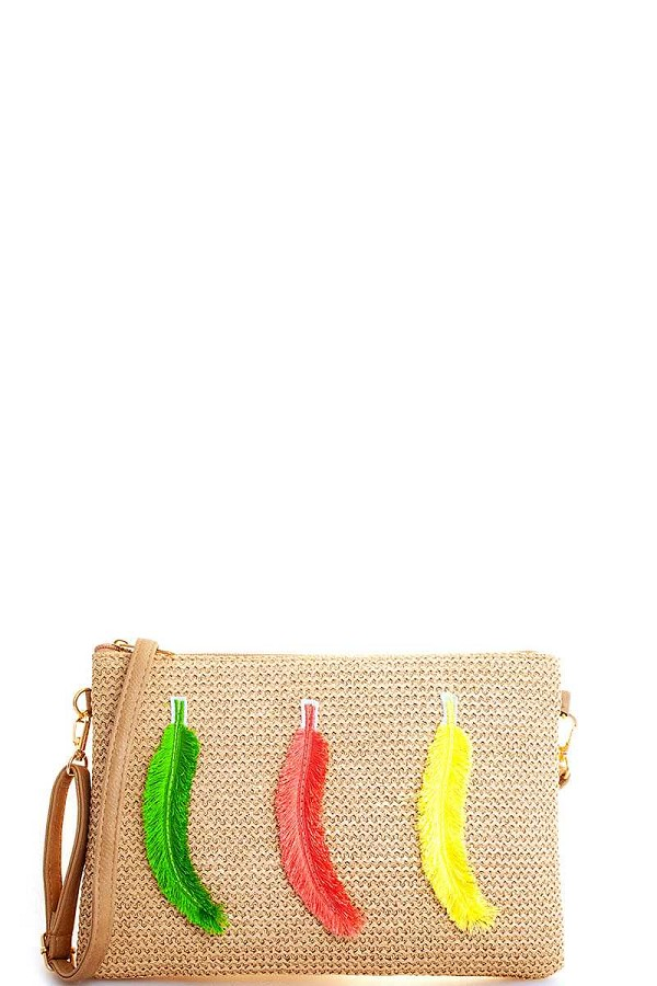 Modern fashion woven feather clutch with long strap-id.cc51803