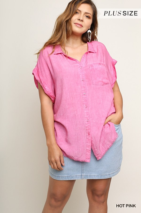 Washed button up short sleeve top with frayed hemline-id.cc51822c