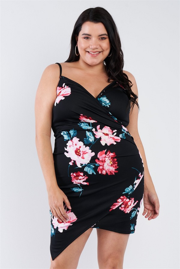 Plus size floral print v-neck cinched size chic mini dress-id.cc51848