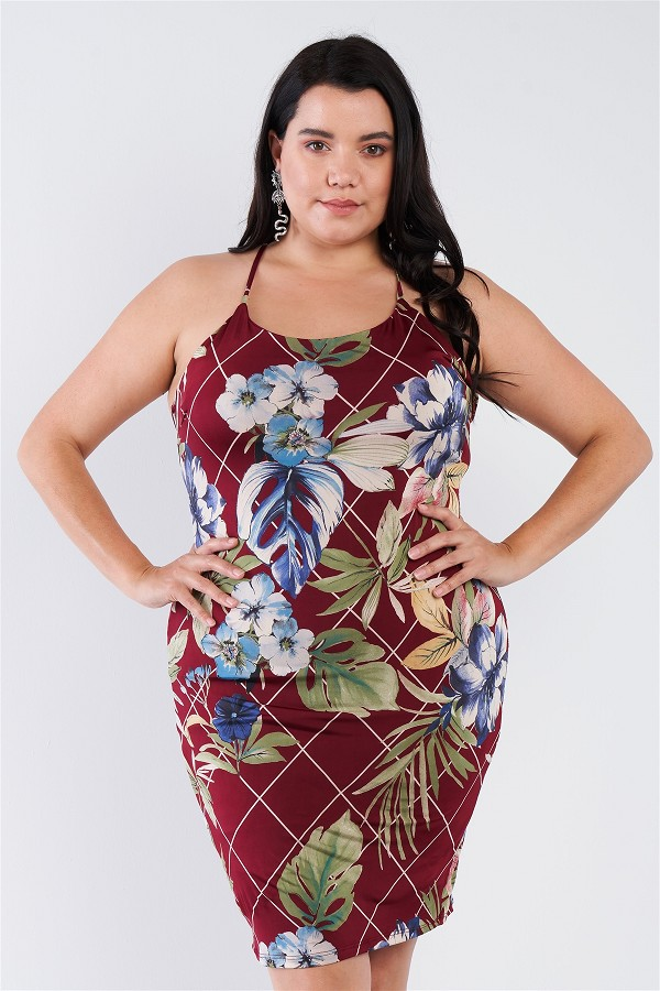 Plus size criss-cross open back mini floral print dress-id.cc51850a
