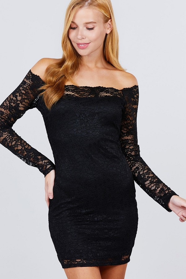Long sleeve scallop off shoulder lace mini dress-id.cc51852