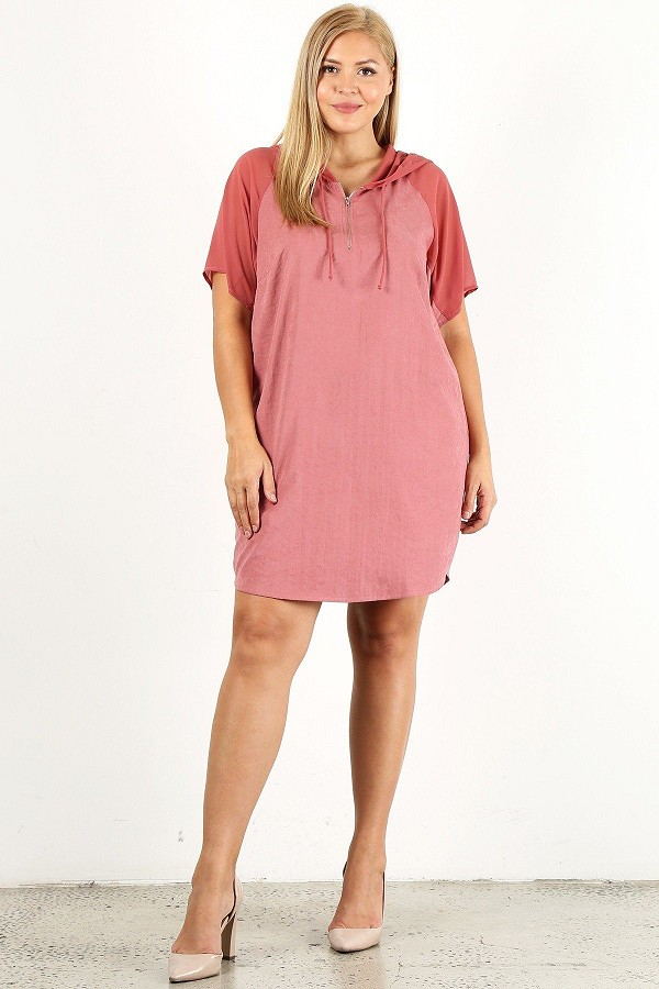 Plus size solid dress with zip-up closure-id.cc51909