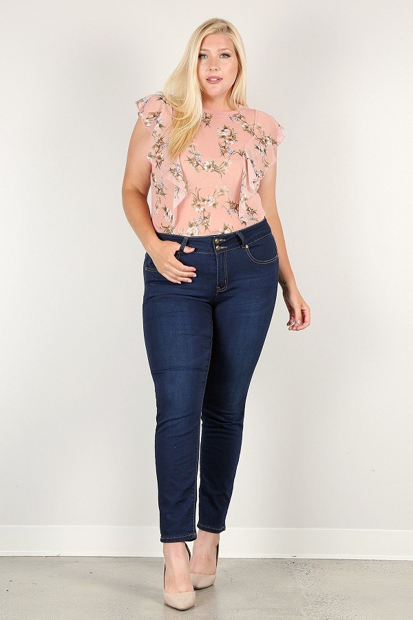 Plus size floral print sheer top-id.cc51910