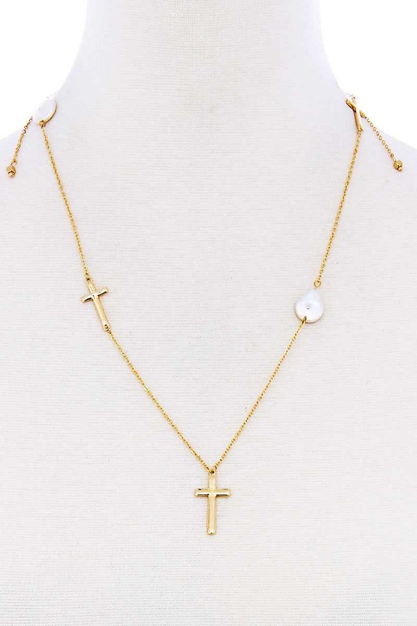 Triple cross and pearl pendant endless necklace-id.cc51944