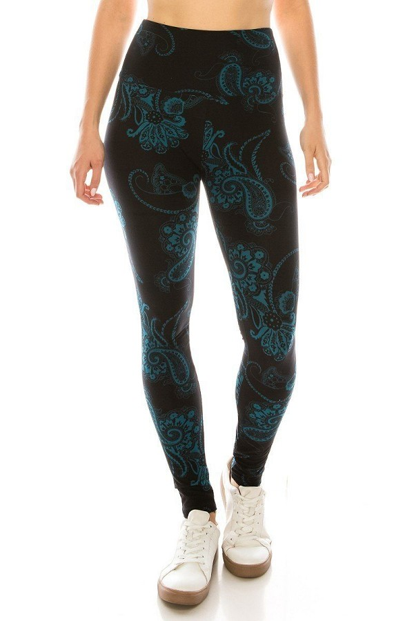 Long yoga style banded lined multi printed knit legging with high waist.-id.cc51956