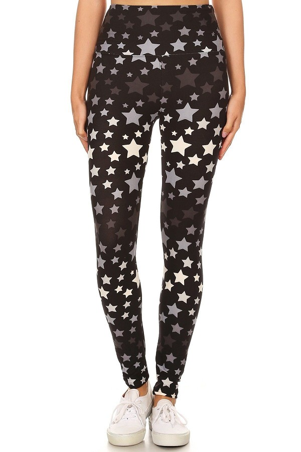Long yoga style banded lined stars printed knit legging with high waist..-id.cc51957