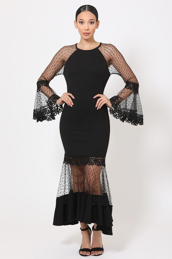 Bell sleeve mesh combined fashion long dress-id.cc51982