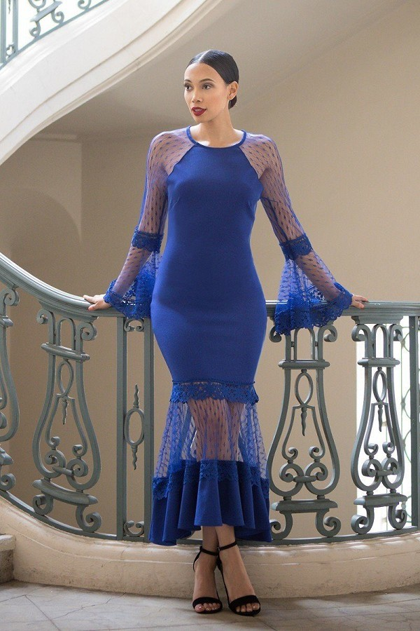 Bell sleeve mesh combined fashion long dress-id.cc51982a