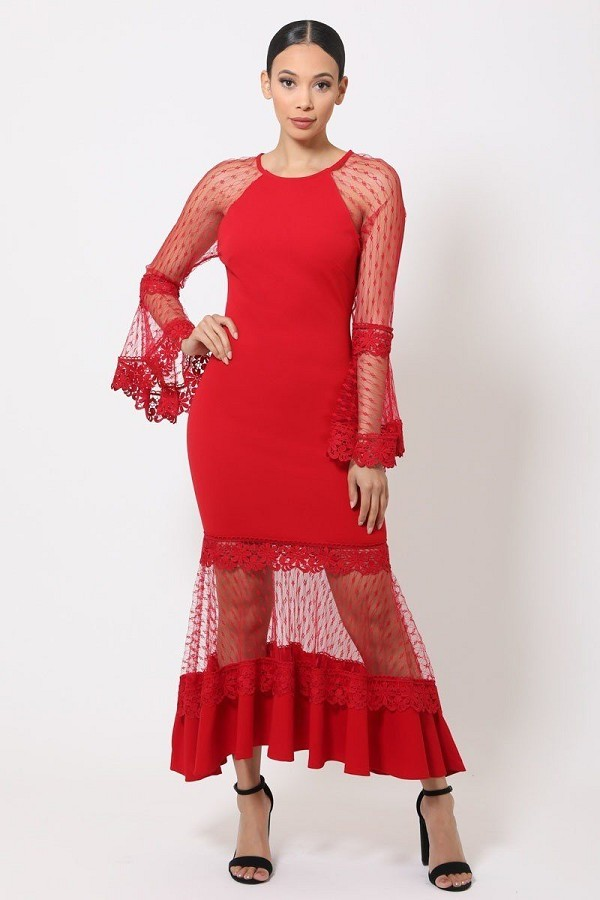 Bell sleeve mesh combined fashion long dress-id.cc51982c