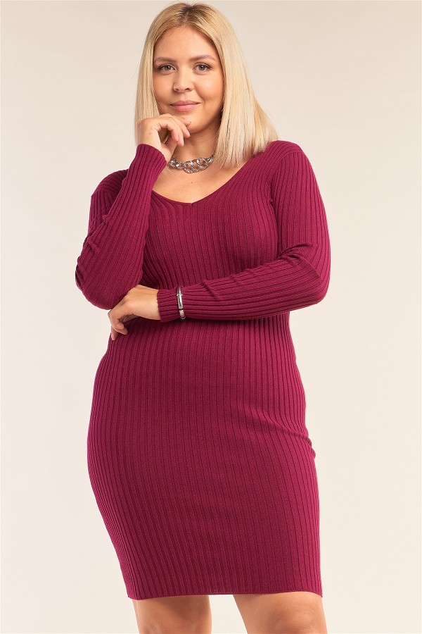 Plus size v-neck long sleeve ribbed sweater bodycon mini dress-id.cc51992b