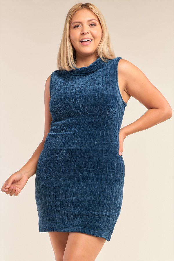 Plus size sleeveless ribbed knit semi-turtleneck mini dress-id.cc51994