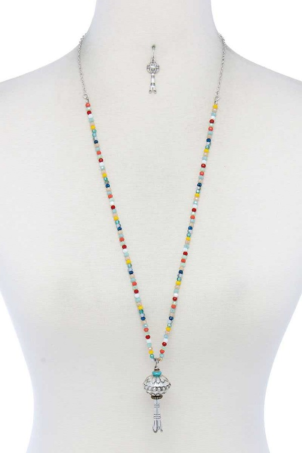 Metal charm beaded necklace-id.cc52014