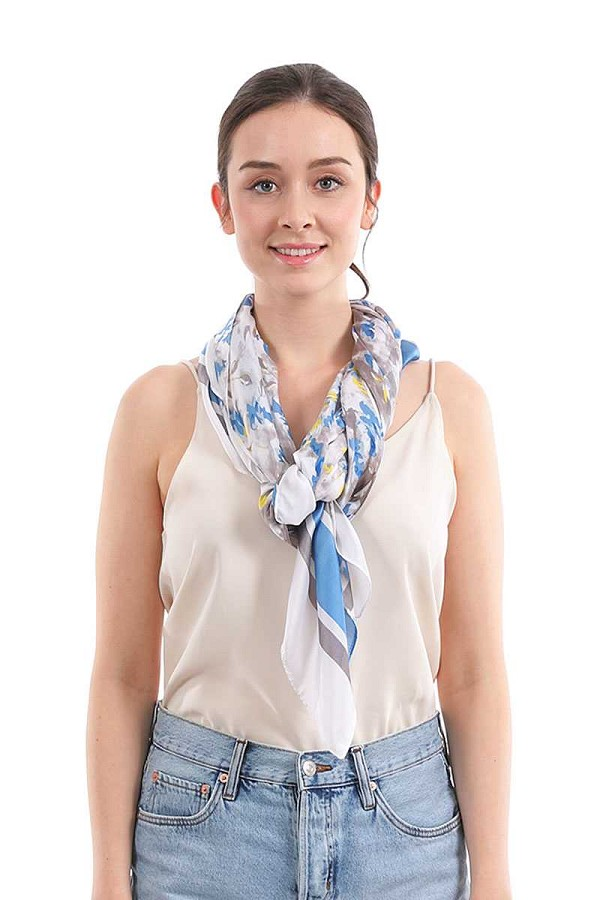 Fashion small floral and stripe pattern silky scarf-id.cc52038