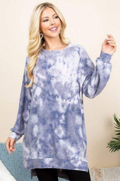 Ultra cozy tie dye french terry brush oversize casual pullover-id.cc52043