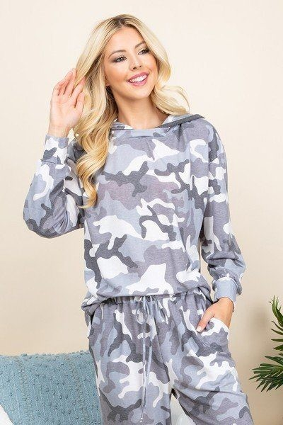 Army camo french terry printed hoodie-id.cc52045