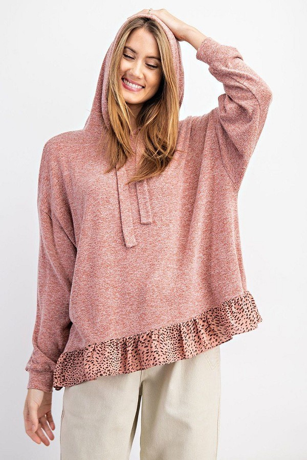 Animal print ruffled bottom pullover hoodie top-id.cc52057a