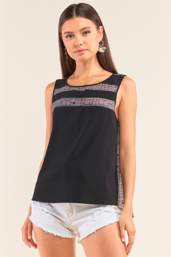 Grey and black sleeveless relaxed fit brick pattern print mesh round neck top-id.cc52068