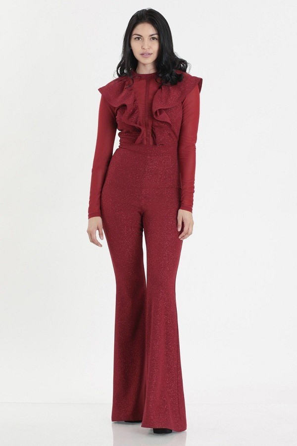 Glittered stretch crepe solid jumpsuits-id.cc52120