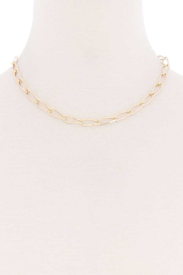 Oval chain single metal necklace-id.cc52174