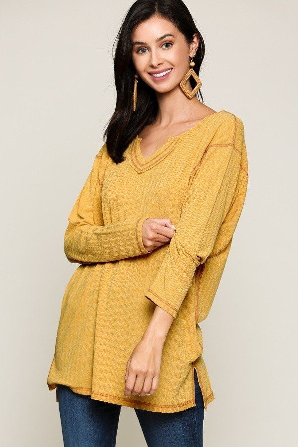 Two-tone rib tunic top with side slits-id.cc52308a