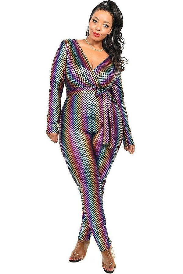 Plus sequin striped surplice jumpsuit-id.cc52320