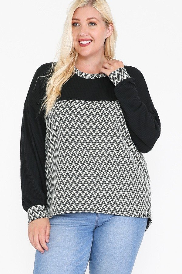 Jacquard contrast with drop shoulder long sleeve round hem top-id.cc52321