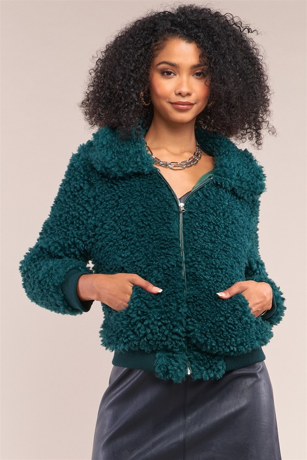 Hunter green long sleeve zip front faux fur bomber jacket-id.cc52327