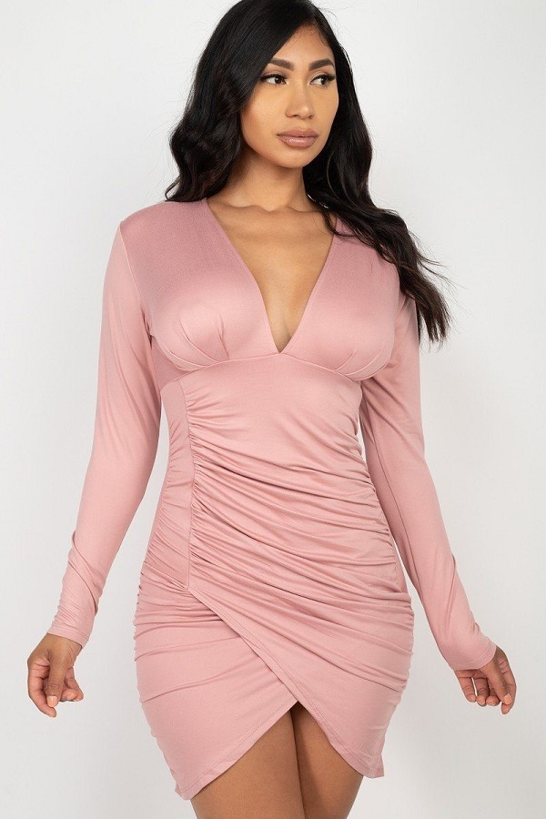 Ruched wrap bodycon dress-id.cc52379d