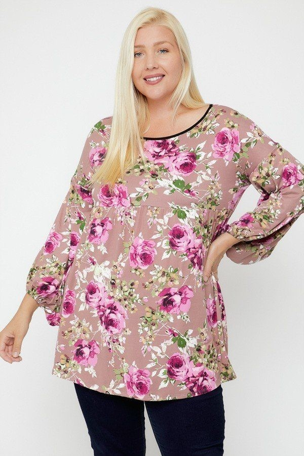 Floral, bubble sleeve tunic-id.cc52382