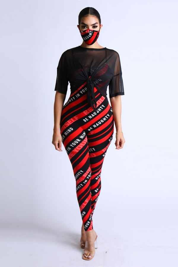 Diagonal striped jumpsuit with mesh set-id.cc52398